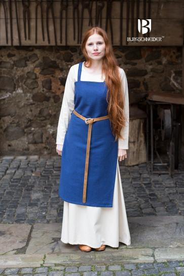 Wikingerkleid Frida von Burgschneider mit Fibeln und Unterkleid kombiniert