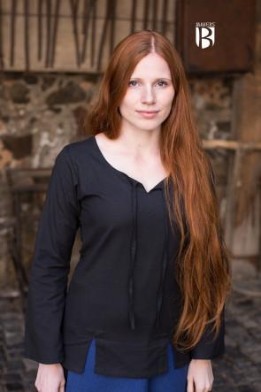 Schwarze Bluse für Frauen mit Schnürung