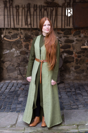 Lindgrüner Westenmantel aus Wolle
