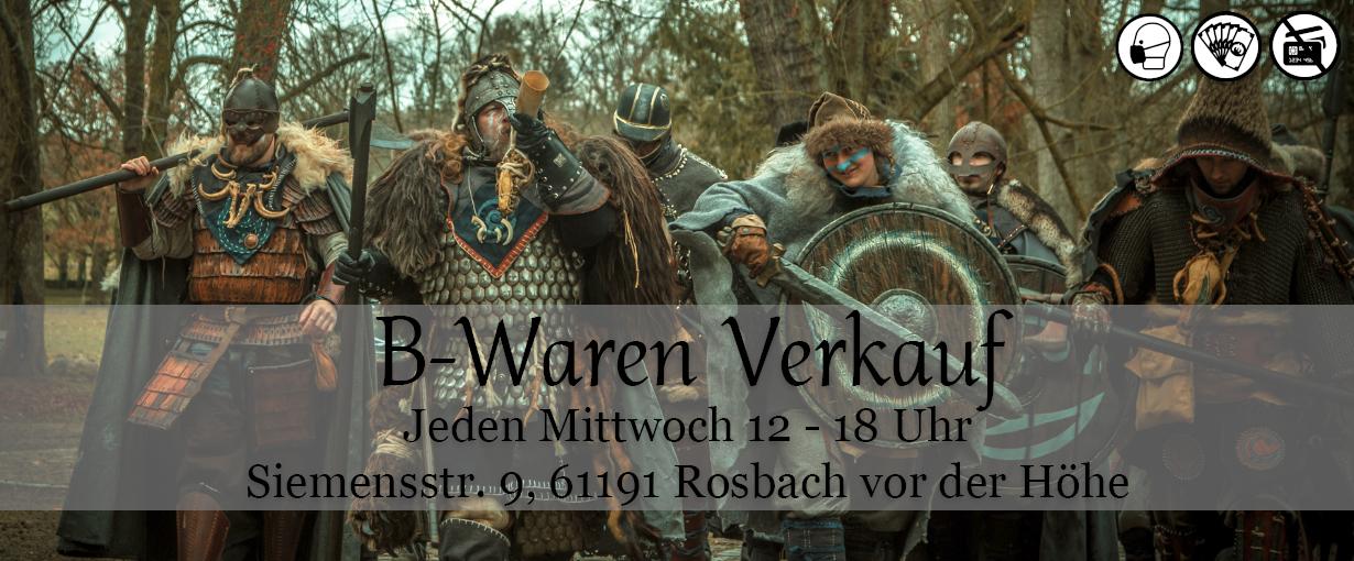 B Waren Verkauf Banner. Jeden Mittwoch 12-18Uhr in Siemensstr. 9, 61191 Rosbach vor der Höhe. Eintritt mit Maske. Bezahlung leider nur mit Bargeld.